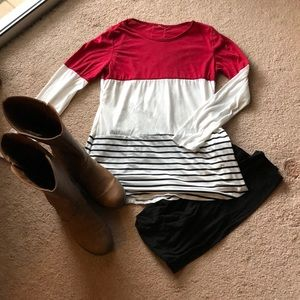 Tops - White and red tunic